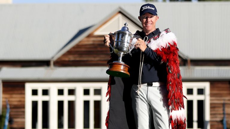 Brad Kennedy celebrates after winning the 2020 New Zealand Golf Open at Millbrook Resort