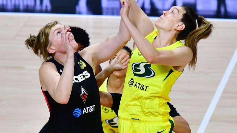 Breanna Stewart leaps to win a jump-ball in the Game 2 of the WNBA Finals