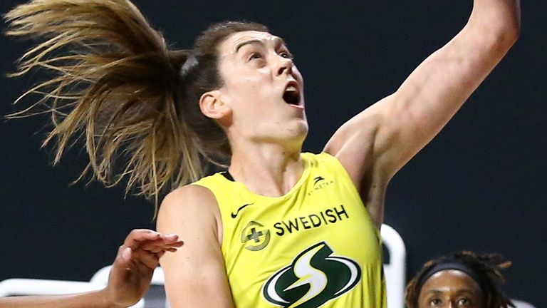 Breanna Stewart attacks the rim en route to 26 points in Game 3 of the WNBA Finals