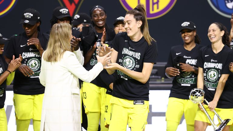 Breanna Stewart of the Seattle Storm is presented with the MVP Award after winning the 2020 WNBA Championship in Game Three of the WNBA Finals against the Las Vegas Aces