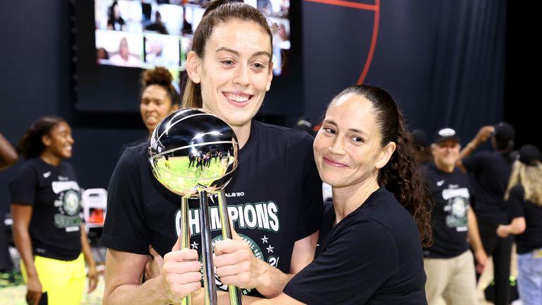 Seattle Storm stars Breanna Stewart and Sue Bird celebrate after winning the 2020 WNBA championship