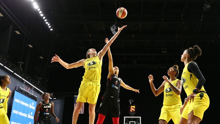 Breanna Stewart of the Seattle Storm reaches for the ball during the game against the Las Vegas Aces during Game Three of the WNBA Finals