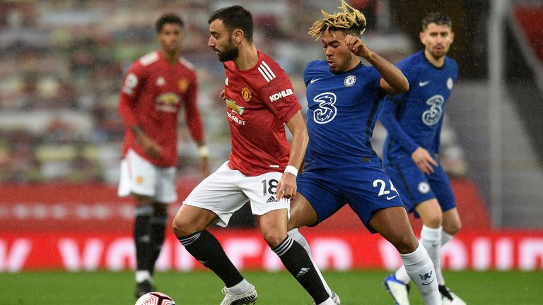 Bruno Fernandes and Reece James in action at Old Trafford