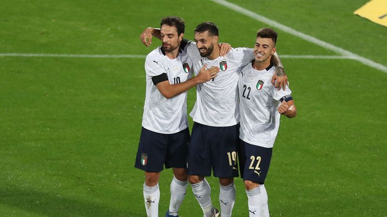 Francesco Caputo scored on his debut for Italy at the age of 33