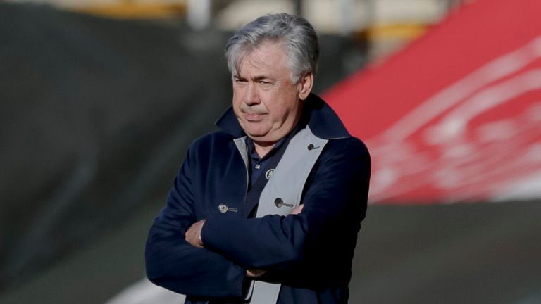 Carlo Ancelotti watches on from the sidelines as his side suffer defeat