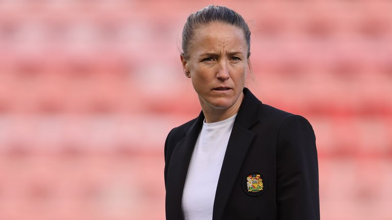 Casey Stoney during the WSL fixture between Manchester United Women and Chelsea Women on September 6, 2020