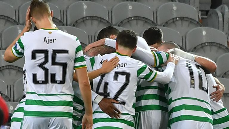 Celtic players celebrate scoring against Lille