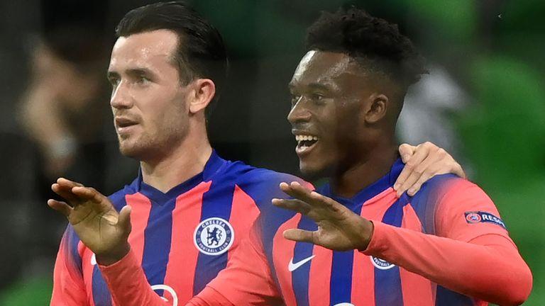 Callum Hudson-Odoi celebrates Chelsea's opener
