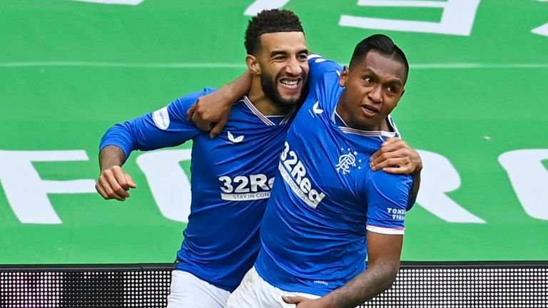 Connor Goldson celebrates with Alfredo Morelos after making it 2-0