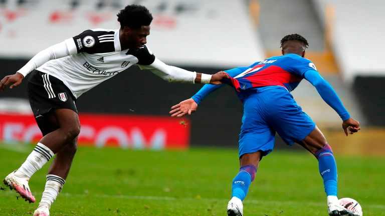 Ole Aina is forced into drastic action to half the progress of Wilfried Zaha