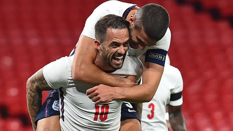 Danny Ings celebrates after scoring England's third goal