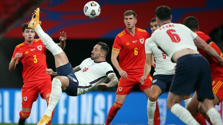 Danny Ings scores an acrobatic third for England against Wales