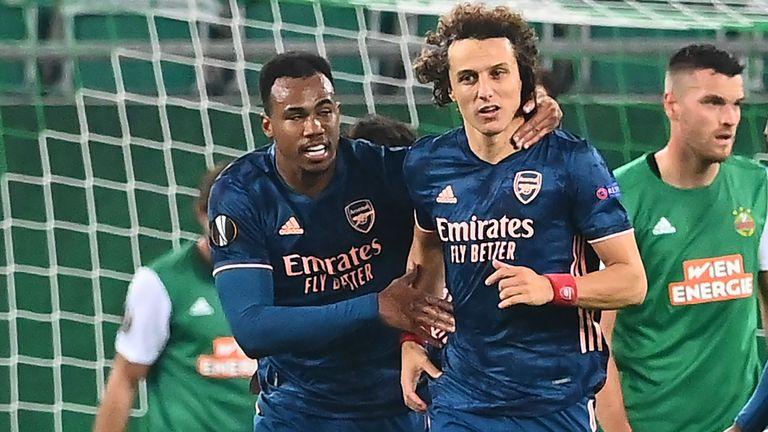 David Luiz headed Arsenal level against Rapid Vienna