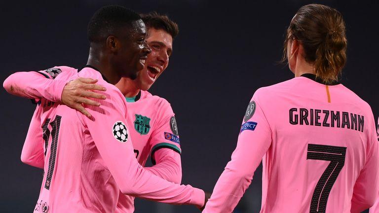 Ousmane Dembele celebrates scoring against Juventus