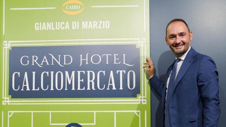 Sky in Italy's Gianluca Di Marzio at the presentation of his book Grand Hotel Calciomercato