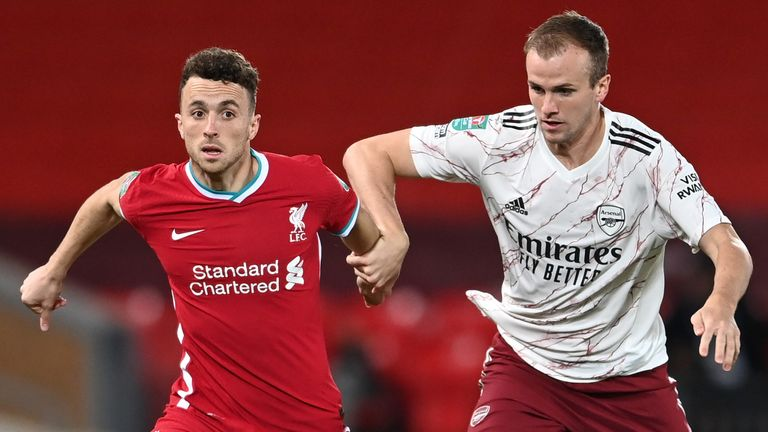 Diogo Jota battle for the ball with Rob Holding during Liverpool vs Arsenal