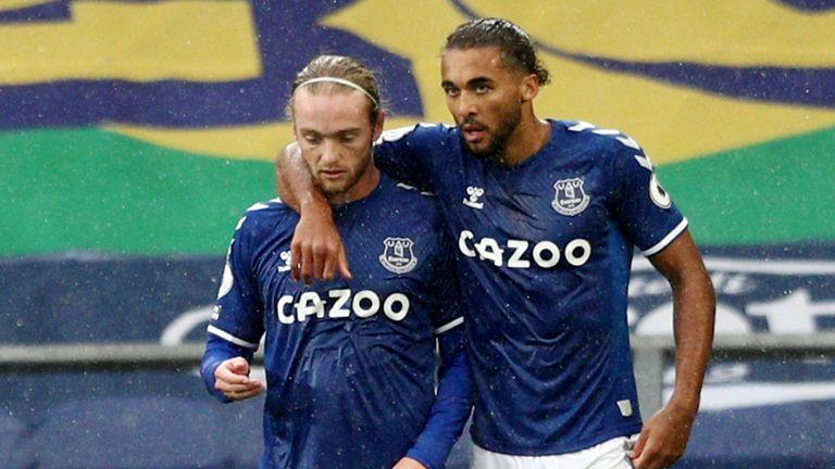 Dominic Calvert-Lewin celebrates his goal with teammate Tom Davies