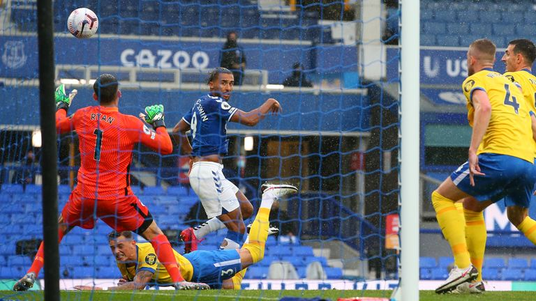 Dominic Calvert-Lewin heads Everton into a 1-0 lead