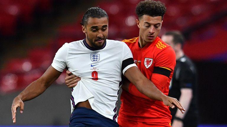 Dominic Calvert-Lewin vies with Ethan Ampadu at Wembley