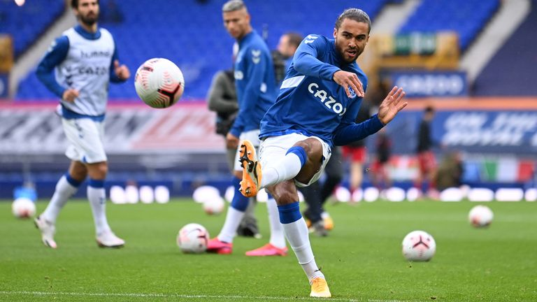 Dominic Calvert-Lewin warms up ahead of the Merseyside derby