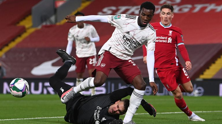 Adrian of Liverpool saves from Eddie Nketiah of Arsenal during the Carabao Cup fourth round match between Liverpool and Arsenal at Anfield on October 01, 2020