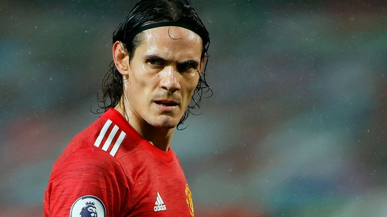 Edinson Cavani pictured during his Manchester United debut