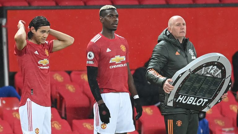 Edinson Cavani and Paul Pogba come on for Manchester United against Chelsea at Old Trafford in October 2020