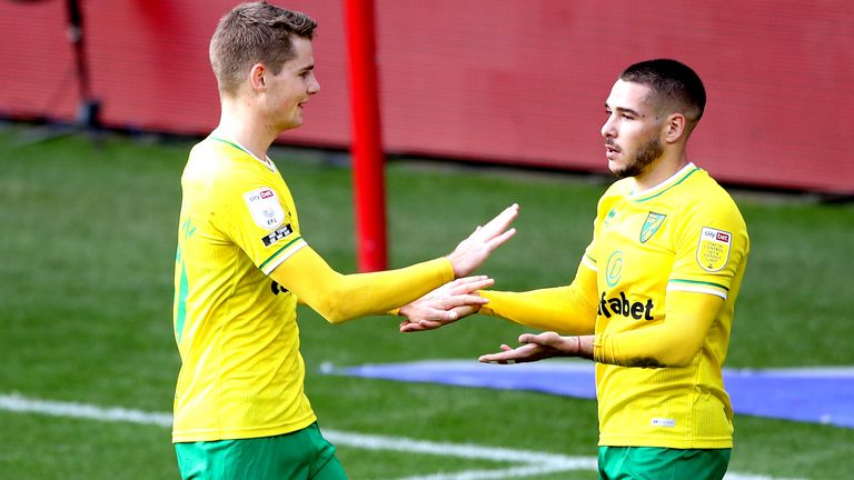 Bristol City v Norwich City - Sky Bet Championship - Ashton Gate Norwich City's Emi Buendia (right) celebrates scoring his side's third goal of the game with teammate Jacob Sorensen during the Sky Bet Championship match at Ashton Gate, Bristol.