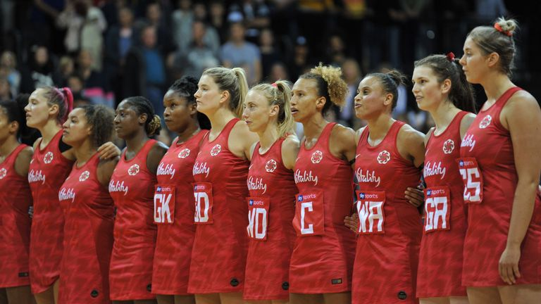 England's Vitality Roses lining up for the national anthem on account of Serena Guthrie's 100th cap (Credit: Bex Charteris)