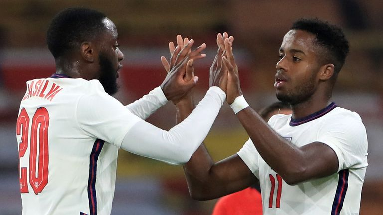 England's Ryan Sessegnon (right) celebrates after Turkey's Huseyin Turkmen (not pictured) scores an own goal during the UEFA Euro 2021 Under-21 Qualifying Group 3 match at Molineux