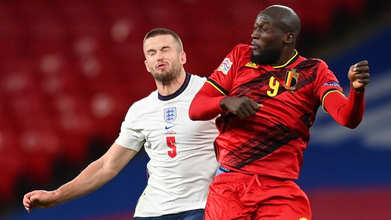 Eric Dier challenges Romelu Lukaku during England's 2-1 win over Belgium in the Nations League