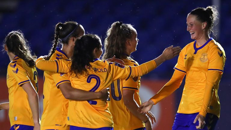 Everton's Nicoline Sorensen celebrates with team-mates after scoring her side's second goal during  Women's FA Cup semi-final against Birmingham City