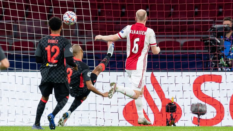 Fabinho made a crucial goal-line clearance against Ajax