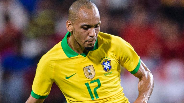Liverpool midfielder Fabinho in action for Brazil