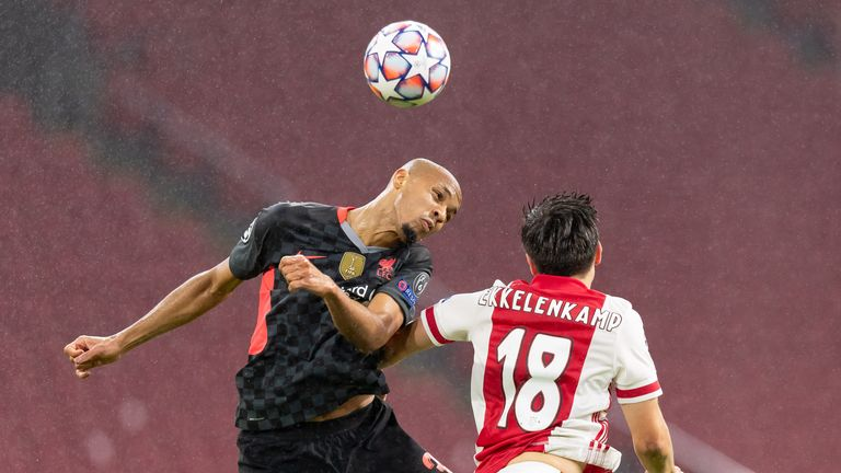 Fabinho wins a header in Liverpool's Champions League victory over Ajax