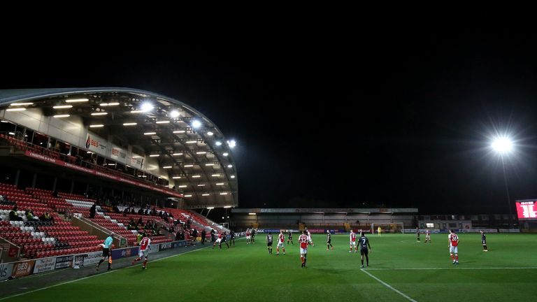 A general view of play is seen during the Sky Bet League One match between Fleetwood Town and Hull City at Highbury Stadium on October 09, 2020 in Fleetwood, England. Sporting stadiums around the UK remain under strict restrictions due to the Coronavirus Pandemic as Government social distancing laws prohibit fans inside venues resulting in games being played behind closed doors.