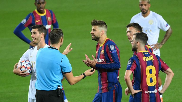 Pique was sent off against Ferencvaros in the Champions League on Tuesday