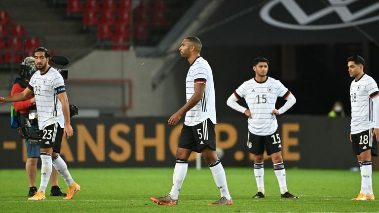 Germany players look dejected after the dramatic 3-3 draw with Turkey