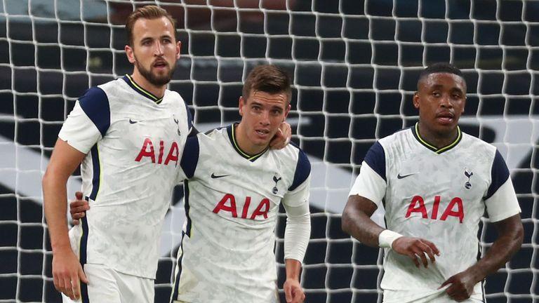 Giovani Lo Celso celebrates scoring for Spurs against Maccabi Haifa