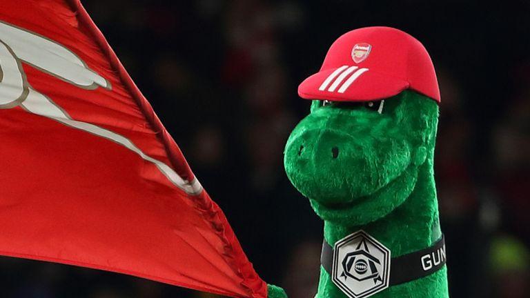 Arsenal sack mascot Gunnersaurus