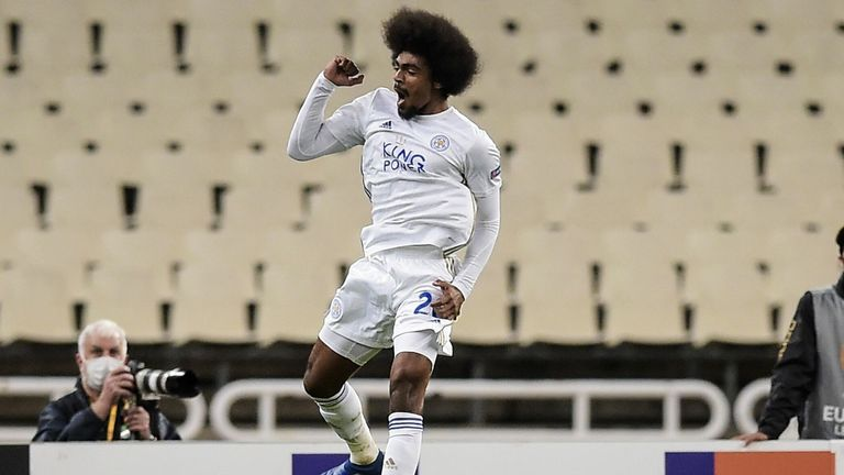 Hamza Choudhury celebrates scoring Leicester's second
