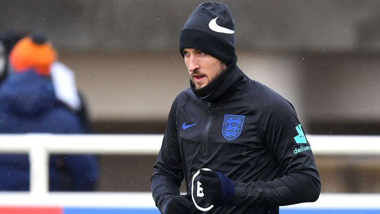 Harry Kane during an England training session