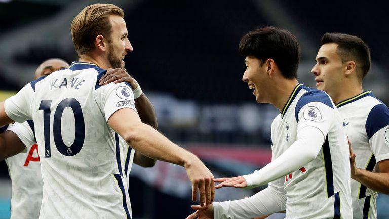 Harry Kane celebrates scoring his first goal for Spurs vs West Ham