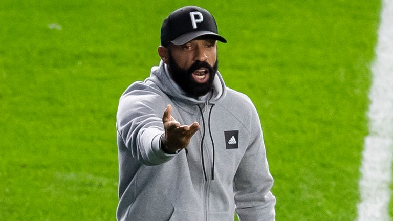 Thierry Henry Head Coach of Montreal Impact on the sidelines pointing to the referee after a call during the first half of the Major League Soccer match against New York City FC at Yankee Stadium on October 24, 2020 in the Bronx borough of New York City.