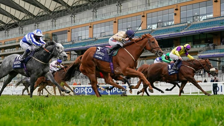 Hollie Doyle riding Glen Shiel (C, gold) win The Qipco British Champions Sprint Stakes during the Qipco British Champions Day at Ascot