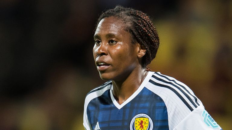Ifeoma Dieke of Scotland women during the UEFA WEURO 2017 Group D group stage match between Scotland and Spain at The Adelaarshorst on July 27, 2017 in Deventer, The Netherlands