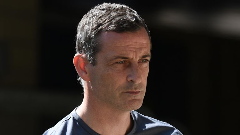 Hibernian FC manager Jack Ross before the Ladbrokes Premiership match between Livingston FC and Hibernian FC at Tony Macaroni Arena on August 8, 2020 in Livingston, Scotland