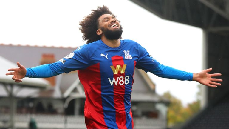Jairo Riedewald celebrates his early strike to give Crystal Palace the lead