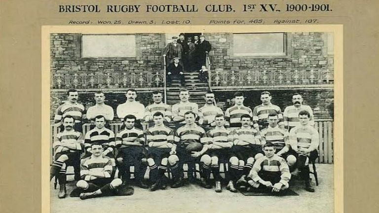 Peters (third from left, middle row) played rugby for Bristol and Somerset between 1900 and 1903