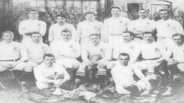 Peters (front right) made his England debut against Scotland in March 1906